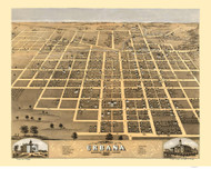 Urbana, Illinois 1869 Bird's Eye View