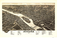 Aurora, Illinois 1882 Bird's Eye View