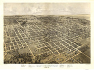 Bloomington, Illinois 1867 Bird's Eye View