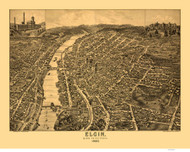 Elgin, Illinois 1880 Bird's Eye View