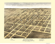 Homer, Illinois 1869 Bird's Eye View