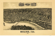Moline, Illinois 1889 Bird's Eye View