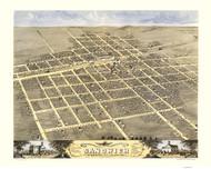 Sandwich, Illinois 1869 Bird's Eye View