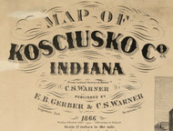 Map Cartouche, Kosciusko Co. Indiana 1866 Old Town Map Custom Print  Kosciusko Co.