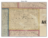 Monroe, Indiana 1866 Old Town Map Custom Print - Kosciusko Co.