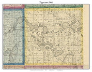 Tippecanoe, Indiana 1866 Old Town Map Custom Print - Kosciusko Co.