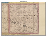Washington, Indiana 1866 Old Town Map Custom Print - Kosciusko Co.