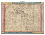 Wayne, Indiana 1866 Old Town Map Custom Print - Kosciusko Co.