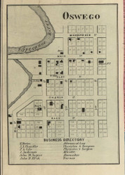 Oswego Village, Plain, Indiana 1866 Old Town Map Custom Print - Kosciusko Co.