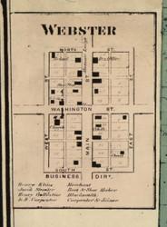 Webster Village, Tippecanoe, Indiana 1866 Old Town Map Custom Print - Kosciusko Co.