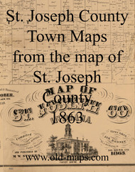 Map Cartouche, St. Joseph County Indiana 1863 Old Town Map Custom Print  St. Joseph Co.
