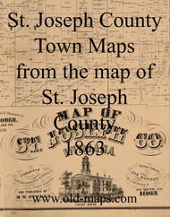 Map Cartouche, St. Joseph County Indiana 1863 Old Town Map Custom Print  St. Joseph Co.