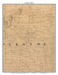 Centre, Indiana 1863 Old Town Map Custom Print - St. Joseph Co.