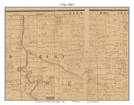Clay, Indiana 1863 Old Town Map Custom Print - St. Joseph Co.
