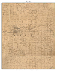 Penn, Indiana 1863 Old Town Map Custom Print - St. Joseph Co.