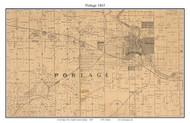 Portage, Indiana 1863 Old Town Map Custom Print - St. Joseph Co.