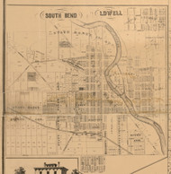 South Bend & Lowell, Indiana 1863 Old Town Map Custom Print - St. Joseph Co.