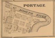 Portage Village, Indiana 1863 Old Town Map Custom Print - St. Joseph Co.