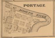 Portage Village, Indiana 1863 Old Town Map Custom Print - St. Joseph Co.
