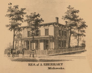 A. Eberhart Residence, Indiana 1863 Old Town Map Custom Print - St. Joseph Co.