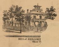 Benjamin Residence, Indiana 1863 Old Town Map Custom Print - St. Joseph Co.