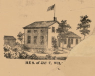 Jas. C. Will. Residence, Indiana 1863 Old Town Map Custom Print - St. Joseph Co.