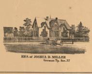 Joshua D. Miller Residence, Indiana 1863 Old Town Map Custom Print - St. Joseph Co.