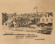 Oliver & Bissell, Indiana 1863 Old Town Map Custom Print - St. Joseph Co.