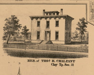 Thomas B. Chaleant Residence, Indiana 1863 Old Town Map Custom Print - St. Joseph Co.