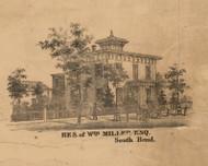 Wm. Miller Residence, Indiana 1863 Old Town Map Custom Print - St. Joseph Co.