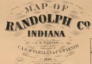 Map Cartouche, Randolph Co. Indiana 1865 Old Town Map Custom Print  Randolph Co.