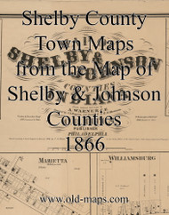 Map Cartouche, Shelby County Indiana 1866 Old Town Map Custom Print  Shelby Co.