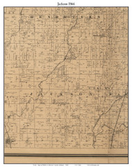 Jackson, Indiana 1866 Old Town Map Custom Print - Shelby Co.