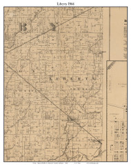 Liberty, Indiana 1866 Old Town Map Custom Print - Shelby Co.