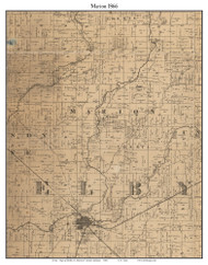Marion, Indiana 1866 Old Town Map Custom Print - Shelby Co.