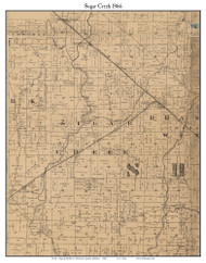 Sugar Creek, Indiana 1866 Old Town Map Custom Print - Shelby Co.