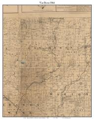 Van Buren, Indiana 1866 Old Town Map Custom Print - Shelby Co.