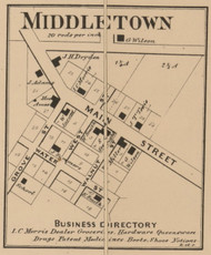 Middletown, Liberty, Indiana 1866 Old Town Map Custom Print - Shelby Co.