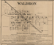 Waldron, Liberty, Indiana 1866 Old Town Map Custom Print - Shelby Co.