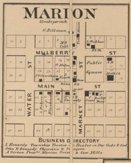 Marion Village, Marion, Indiana 1866 Old Town Map Custom Print - Shelby Co.
