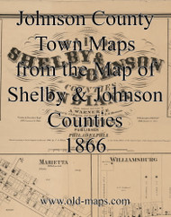 Map Cartouche, Johnson County Indiana 1866 Old Town Map Custom Print  Johnson Co.