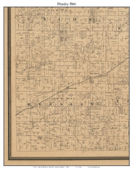 Hensley, Indiana 1866 Old Town Map Custom Print - Johnson Co.