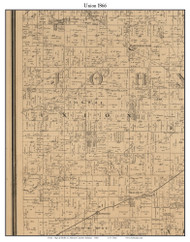 Union, Indiana 1866 Old Town Map Custom Print - Johnson Co.