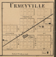 Urmeyville, Franklin, Indiana 1866 Old Town Map Custom Print - Johnson Co.