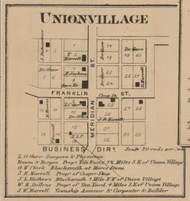 Union Village, Union, Indiana 1866 Old Town Map Custom Print - Johnson Co.