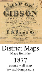 Map Cartouche, Gibson Co. Tennessee 1877 Old Town Map Custom Print
