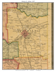 District 13 - Milan, Tennessee 1877 Old Town Map Custom Print Gibson Co.