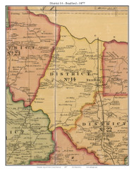 District 14 - Bradford, Tennessee 1877 Old Town Map Custom Print Gibson Co.