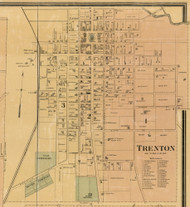 Trenton Village, District 7, Tennessee 1877 Old Town Map Custom Print Gibson Co.