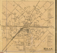 Milan Vllage, District 13, Tennessee 1877 Old Town Map Custom Print Gibson Co.